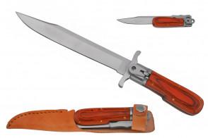 "12"" Wood Handle German Folding Knife With Leather Sheath"