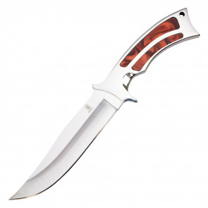 """11"""" Fixed Blade Hunting Knife w/ Marbled Red Handle"""