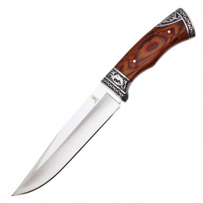 """12"""" Fixed Blade Hunting Knife w/ Floral Wood Handle"""