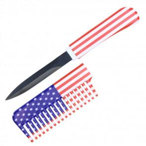 """6.5"""" USA Flag Comb Knife"""