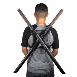 Dual Sword Back Frog Holder Harness with Shoulder Straps - Faux Leather