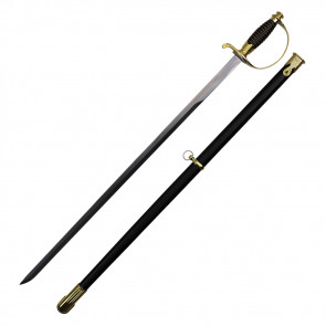"38"" German Cavalry Sword With Gold Handle And Black Scabbard"