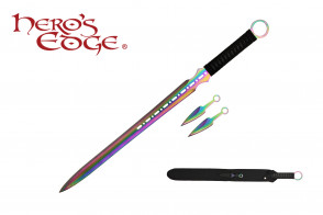 "27"" Ninja Sword w/ Throwing Knife Set"