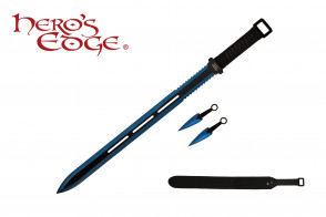 "28"" Technicolor Ninja Sword w/ Throwing Knives"