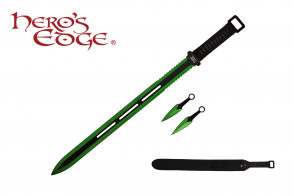 "28"" Technicolor Ninja Sword w/ Throwing Knives"