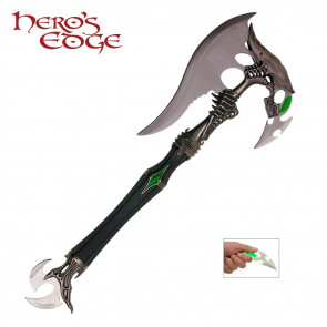 """21"""" Alien Axe With Green Detailing Made From Stainless Steel"""