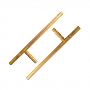 Pair of Wooden Tonfas w/ Grooved Handles (Wood)