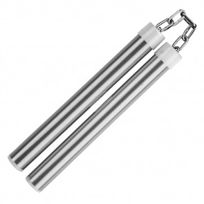 "9.75"" Aluminum Nunchaku With Metal Chain Link (Silver)"