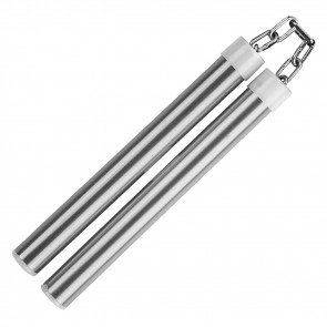 "10.75"" Aluminum Nunchaku With Metal Chain Link (Silver)"