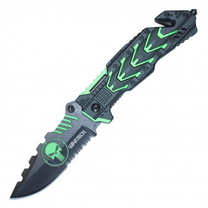 "7 3/4"" Target Aim Skull Mecha Pocket Knife"