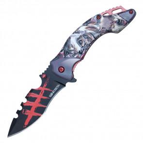 """8 1/4"""" ASSISTED OPEN INDIAN SKELETON & WOLF POCKET KNIFE"""
