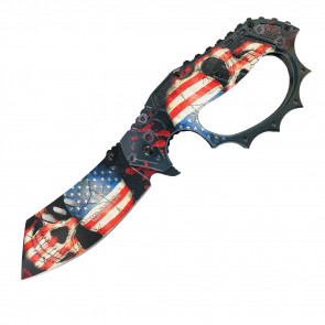 """8"""" Cleaver Blade Assisted Trench Knife w/ USA Skull Design"""