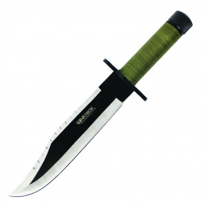 Two Toned Blade Hunting Knife With Green Cord Wrapped Handle and Leather Sheath