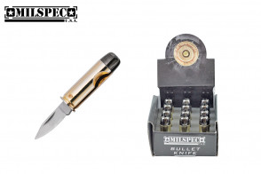 pistol Bullet Knife BRASS PLATED CAST METAL CASE