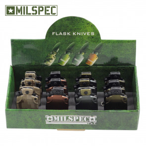12 Piece Assorted Colors Mini Water Canteen Pocket Knives With Chain and Display Case