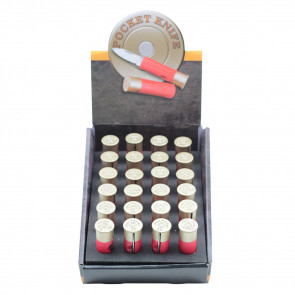 24 Piece Shot Gun Shell Bullet Knives With Display Case (Red)