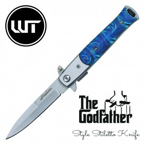 "8.5"" Spring Assisted Stiletto w/ Turquoise Handle"